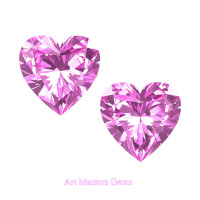 Art Masters Gems Set of Two Standard 1.5 Ct Heart Light Pink Sapphire Created Gemstones HCG150S-LPS