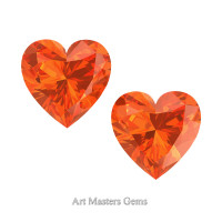 Art Masters Gems Set of Two Standard 1.5 Ct Heart Orange Sapphire Created Gemstones HCG150S-OS