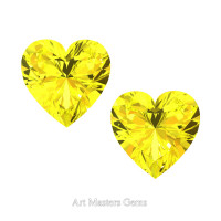 Art Masters Gems Set of Two Standard 2.0 Ct Heart Yellow Sapphire Created Gemstones HCG200S-YS