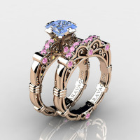 Art Masters Caravaggio 14K Rose Gold 1.25 Ct Princess Light Blue and Pink Sapphire Engagement Ring Wedding Band Set R623PS-14KRGLPSLBS