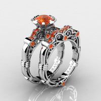 Art Masters Caravaggio 10K White Gold 1.0 Ct Orange Sapphire Engagement Ring Wedding Band Set R623S-10KWGOS