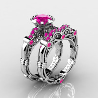 Art Masters Caravaggio 10K White Gold 1.0 Ct Pink Sapphire Engagement Ring Wedding Band Set R623S-10KWGPS