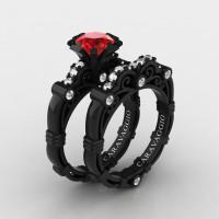 Art Masters Caravaggio 14K Black Gold 1.0 Ct Ruby Diamond Engagement Ring Wedding Band Set R623S-14KBGDR