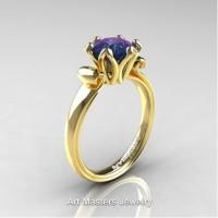 Antique 14K Yellow Gold 1.5 CT Chrysoberyl Alexandrite Engagement Ring AR127-14KYGAL