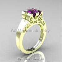 Modern Art Deco 14K Green Gold 1.0 Ct Amethyst Engagement Ring R36N-14KGRGAM