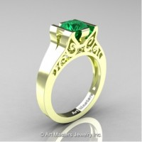 Modern Art Deco 14K Green Gold 1.0 Ct Emerald Engagement Ring R36N-14KGRGEM