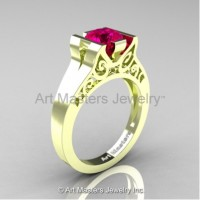 Modern Art Deco 14K Green Gold 1.0 Ct Rose Ruby Engagement Ring R36N-14KGRGRR