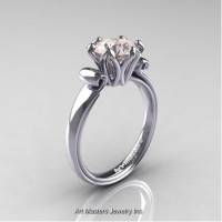 Antique 14K White Gold 1.5 Ct Morganite Solitaire Engagement Ring AR127-14KWGMO