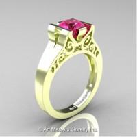 Modern Art Deco 14K Green Gold 1.0 Ct Pink Sapphire Engagement Ring R36N-14KGRGPS