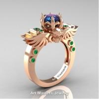 Art Masters Jewelry Winged Skull 14K Rose Gold 1.0 Ct Alexandrite Emerald Solitaire Engagement Ring R613-14KRGEMAL