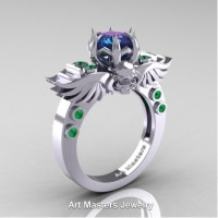 Art Masters Jewelry Winged Skull 14K White Gold 1.0 Ct Alexandrite Emerald Solitaire Engagement Ring R613-14KWGEMAL