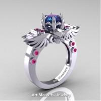 Art Masters Jewelry Winged Skull 14K White Gold 1.0 Ct Alexandrite Pink Sapphire Solitaire Engagement Ring R613-14KWGPSAL