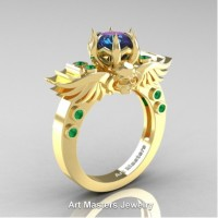 Art Masters Jewelry Winged Skull 14K Yellow Gold 1.0 Ct Alexandrite Emerald Solitaire Engagement Ring R613-14KYGEMAL