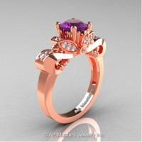 Classic 14K Rose Gold 1.0 Ct Amethyst White Diamond Solitaire Engagement Ring R323-14KRGDAM