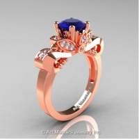 Classic 14K Rose Gold 1.0 Ct Blue Sapphire White Diamond Solitaire Engagement Ring R323-14KRGDBS
