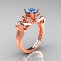 Classic 14K Rose Gold 1.0 Ct Blue Topaz White Diamond Solitaire Engagement Ring R323-14KRGDBT