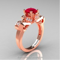 Classic 14K Rose Gold 1.0 Ct Ruby White Diamond Solitaire Engagement Ring R323-14KRGDR