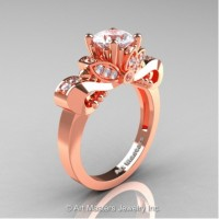 Classic 14K Rose Gold 1.0 Ct White Sapphire White Diamond Solitaire Engagement Ring R323-14KRGDWS