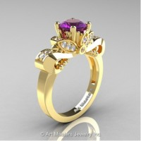 Classic 14K Yellow Gold 1.0 Ct Amethyst and White Diamond Solitaire Engagement Ring R323-14KYGDAM