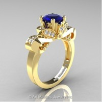 Classic 14K Yellow Gold 1.0 Ct Blue Sapphire and White Diamond Solitaire Engagement Ring R323-14KYGDBS