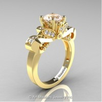Classic 14K Yellow Gold 1.0 Ct Morganite and White Diamond Solitaire Engagement Ring R323-14KYGDMO
