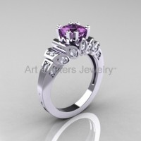 Classic French 10K White Gold 1.23 CT Lilac Amethyst Diamond Engagement Ring R216P-10KWGDLA