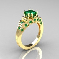 Classic French 10K Yellow Gold 1.23 CT Princess Emerald Engagement Ring R216P-10KYGEM