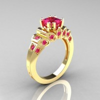 Classic French 18K Yellow Gold 1.23 CT Princess Pink Sapphire Engagement Ring R216P-18KYGPS
