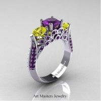 Classic 14K White Gold Three Stone Amethyst Yellow Sapphire Solitaire Ring R200-14KWGYSAM