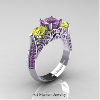Classic 14K White Gold Three Stone Lilac Amethyst Yellow Sapphire Solitaire Ring R200-14KWGYSLAM