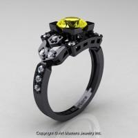Classic 14K Black Gold 1.0 Ct Yellow Sapphire Diamond Engagement Ring Wedding Ring R510-14KBGDYS