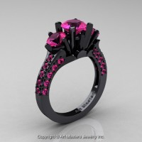 French 14K Black Gold Three Stone 2.0 Ct Pink Sapphire Solitaire Wedding Ring R421-14KBGPS