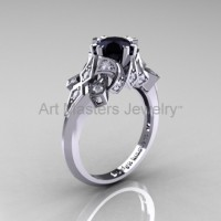 Edwardian 14K White Gold 1.0 CT Black and White Diamond Engagement Ring Wedding Ring R231-14KWGDBD