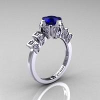Edwardian 14K White Gold 1.0 CT Blue Sapphire Diamond Ballerina Engagement Ring R241-14KWGDBS