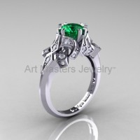 Edwardian 14K White Gold 1.0 CT Emerald Diamond Engagement Ring Wedding Ring R231-14KWGDEM