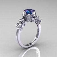 Edwardian 14K White Gold 1.0 CT Alexandrite Diamond Ballerina Engagement Ring R241-14KWGDAL