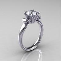 Antique 14K White Gold 1.5 CT White Sapphire Engagement Ring AR127-14KWGWS