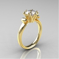 Antique 14K Yellow Gold 1.5 CT Cubic Zirconia Engagement Ring AR127-14KYGCZ