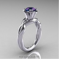 Faegheh Modern Classic 14K White Gold 1.0 Ct Russian Alexandrite Solitaire Engagement Ring R290-14KWGAL