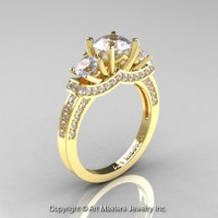 French 14K Yellow Gold Three Stone Cubic Zirconia Diamond Engagement Ring Wedding Ring R182-14KYGDCZ