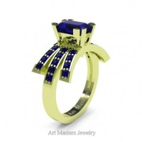 Victorian Inspired 18K Green Gold 1.0 Ct Emerald Cut Blue Sapphire Wedding Ring Engagement Ring R344-18KGRGBS