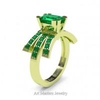 Victorian Inspired 18K Green Gold 1.0 Ct Emerald Cut Emerald Wedding Ring Engagement Ring R344-18KGRGEM