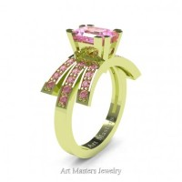 Victorian Inspired 18K Green Gold 1.0 Ct Emerald Cut Light Pink Sapphire Wedding Ring Engagement Ring R344-18KGRGLPS