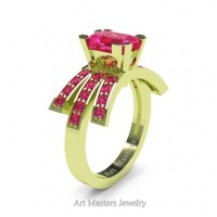 Victorian Inspired 18K Green Gold 1.0 Ct Emerald Cut Pink Sapphire Wedding Ring Engagement Ring R344-18KGRGPS