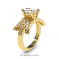 Victorian Inspired 14K Yellow Gold 1.0 Ct Emerald Cut White Sapphire Diamond Wedding Ring Engagement Ring R344-14KYGDWS
