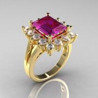 Modern Victorian 10K Yellow Gold 4.0 CT Amethyst Cubic Zirconia Engagement Ring R217-10KYGCZAM