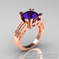 Modern Vintage 14K Rose Gold 3.0 Ct Tanzanite Diamond Solitaire Ring R102-14KRGDTA