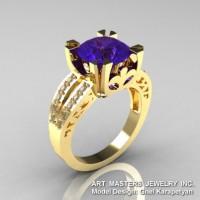Modern Vintage 14K Yellow Gold 3.0 Ct Tanzanite Diamond Solitaire Ring R102-14KYGDTA