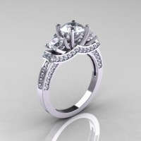 French 14K White Gold Three Stone Russian Cubic Zirconia Diamond Engagement Ring Wedding Ring R182-14KWGDCZ