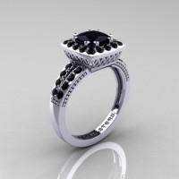 Renaissance Classic 10K White Gold 1.23 Carat Princess Black Diamond Engagement Ring R220P-10KWGBD